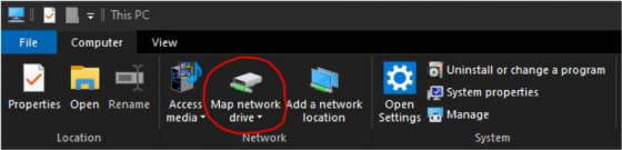 Windows 10 - Map network drive