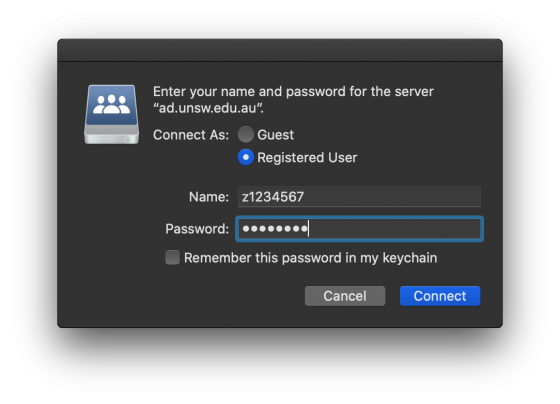 macOS Connect to Server Credential Prompt