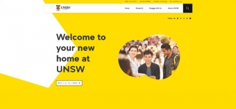 UNSW landing page, white and yellow with picture of students and quote